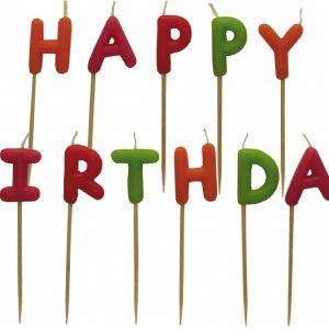 """Κεράκια σετ """"Happy Birthday"""" πολύχρωμο"""