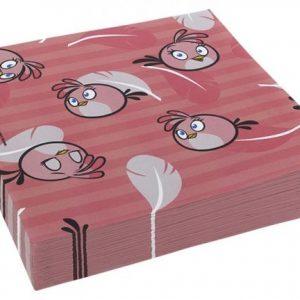 Χαρτοπετσέτες φαγητού Angry Birds ροζ 20τεμ.