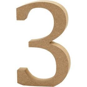 Ξύλινoς Αριθμός 3 Ύψος 13cm Πάχος 2cm