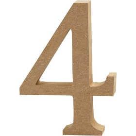 Ξύλινoς Αριθμός 4 Ύψος 13cm Πάχος 2cm