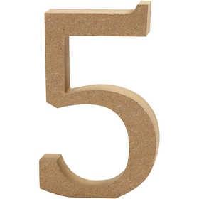Ξύλινoς Αριθμός 5 Ύψος 13cm Πάχος 2cm