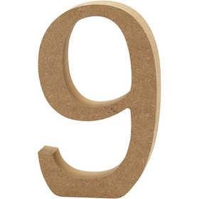 Ξύλινoς Αριθμός 9 Ύψος 13cm Πάχος 2cm