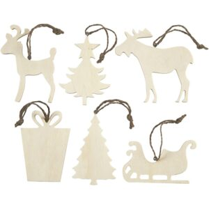 Χριστουγεννιάτικα Στολίδια από Ξύλο, σετ 6τεμ.