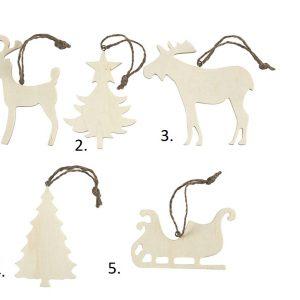 Χριστουγεννιάτικα Στολίδια από Ξύλο, σετ 72τεμ.