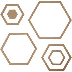 Ξύλινα εξάγωνα διακοσμητικά 6τεμ.