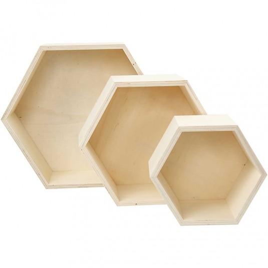 Ξύλινα Eξάγωνα  Κουτιά Αποθήκευσης Ύψος 14,8+19+24,2 cm 3τεμ