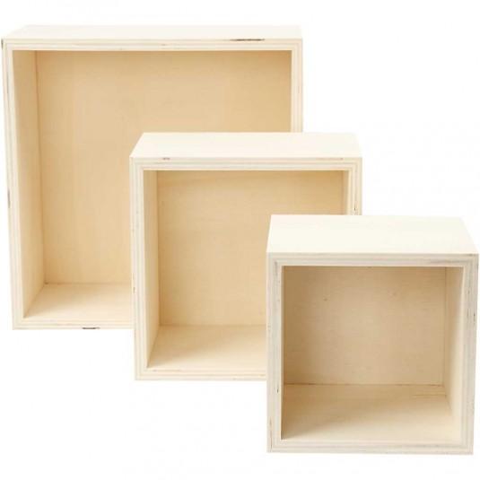 Ξύλινα Τετράγωνα Κουτιά Αποθήκευσης Ύψος 11+14+20 cm 3τεμ