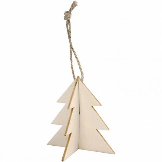 Δέντρο Ξύλινο Κρεμαστό 3D 7.5X7.5εκ. 3τεμ.