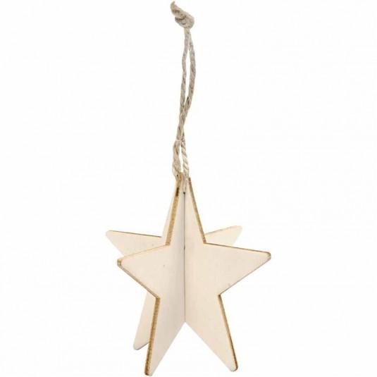 Αστέρι Ξύλινο Κρεμαστό 3D 7.5X7.5 3τεμ.
