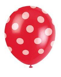 Μπαλόνια κόκκινα πουά 6τεμ.