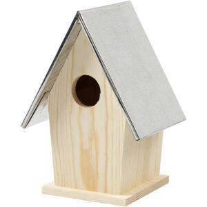 Ξύλινο Bird House με Μεταλλική Στέγη 13,5x11x19 cm 1τεμ