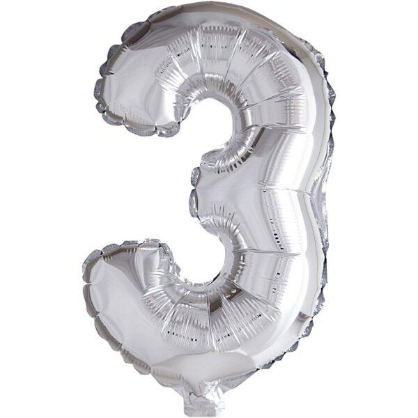 Μπαλόνι foil ασημί ύψος 40εκ. Νο 3