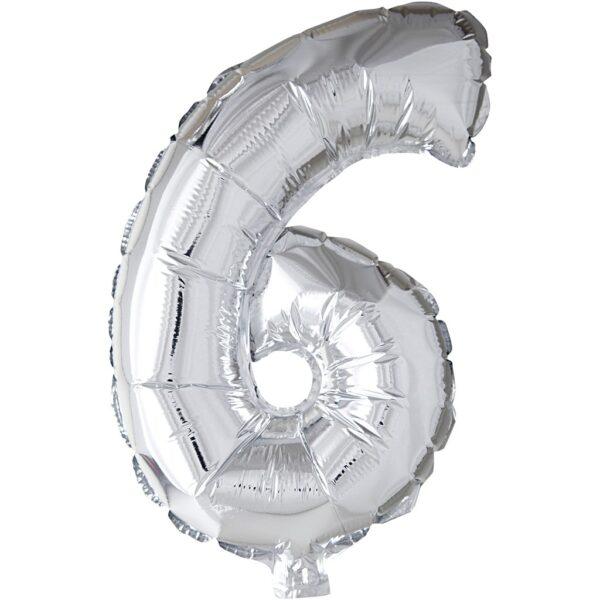 Μπαλόνι foil ασημί ύψος 40εκ. Νο 6