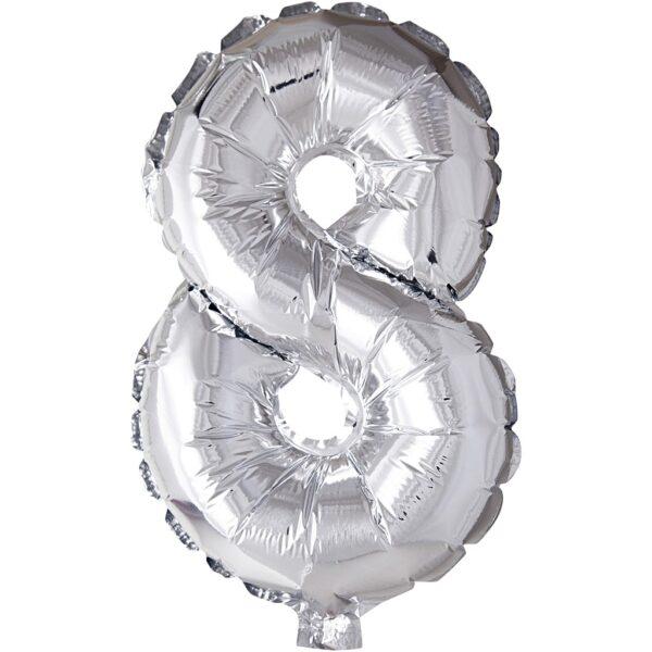 Μπαλόνι foil ασημί ύψος 40εκ. Νο 8