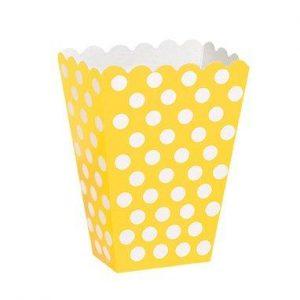Χάρτινα κουτάκια κίτρινα πουά 8τεμ.
