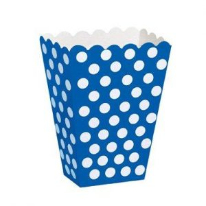 Χάρτινα κουτάκια μπλε πουά 8τεμ.