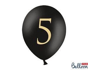 """Μπαλόνι Μαύρο Παστέλ """"5"""" Χρυσό 1τεμ. 30εκ."""