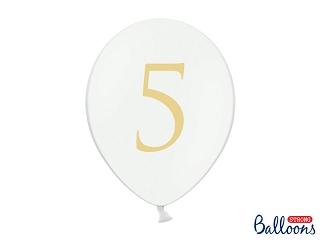 """Μπαλόνι Λευκό Παστέλ """"5"""" Χρυσό 1τεμ. 30εκ."""