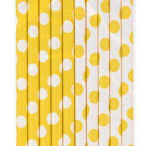 Καλαμάκια κίτρινα πουά 10τεμ.