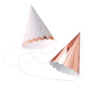 Χάρτινα Καπέλα για Πάρτι σε Ροζ Χρυσό 6τεμ. 2 σχέδια