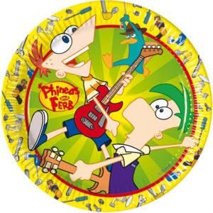 Πιάτα φαγητού 23εκ. Phineas & Ferb 10τεμ.