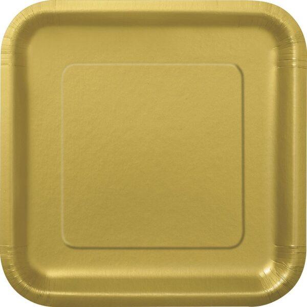 Πιάτα φαγητού τετράγωνα 23εκ. χρυσά μονόχρωμα 14τεμ.