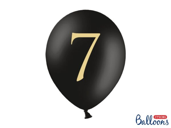 """Μπαλόνι Μαύρο Παστέλ """"7"""" Χρυσό 1τεμ. 30εκ."""