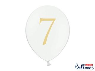 """Μπαλόνι Λευκό Παστέλ """"7"""" Χρυσό 1τεμ. 30εκ."""