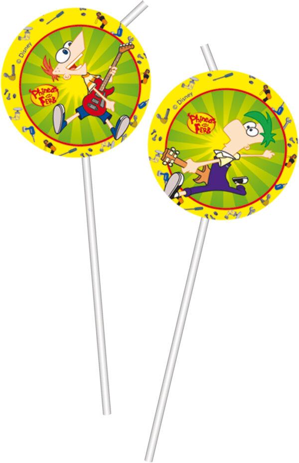 Καλαμάκια με φιγούρες Phineas & Ferb 6τεμ.