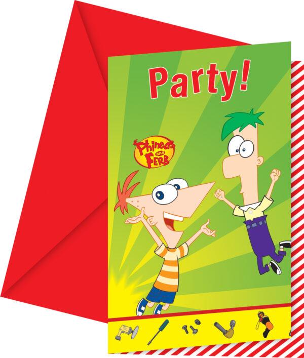 Προσκλήσεις και Φάκελα Disney Phineas & Ferb 6τεμ.