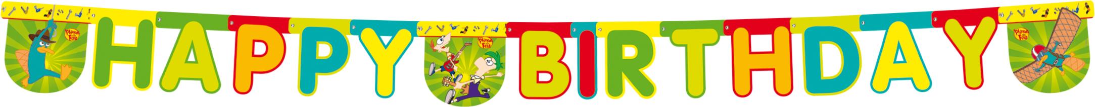 Poster Happy Birthday με κοπτικό Phineas & Ferb