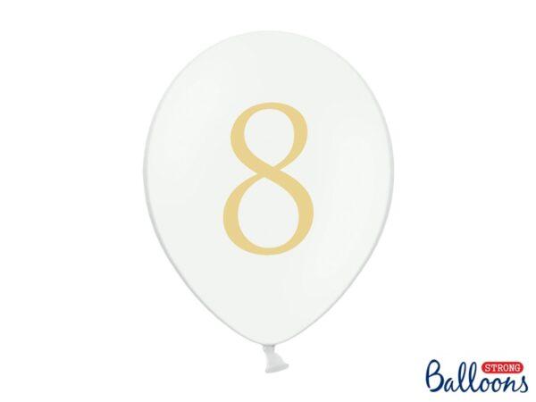 """Μπαλόνι Λευκό Παστέλ """"8"""" Χρυσό 1τεμ. 30εκ."""