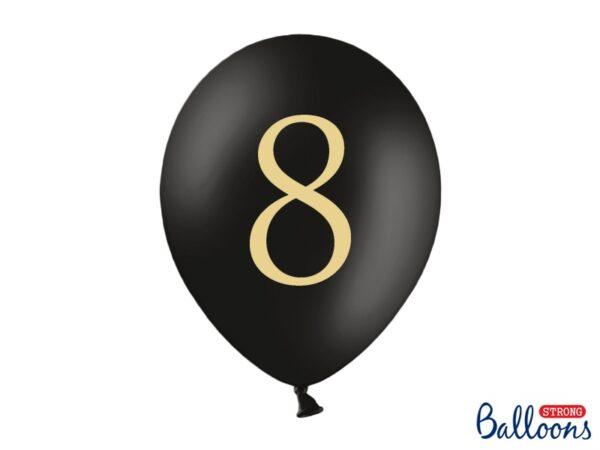 """Μπαλόνι Μαύρο Παστέλ """"8"""" Χρυσό 1τεμ. 30εκ."""