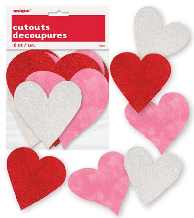 Διακοσμητικές καρδιές cutouts με glitter & ματ 6τεμ.
