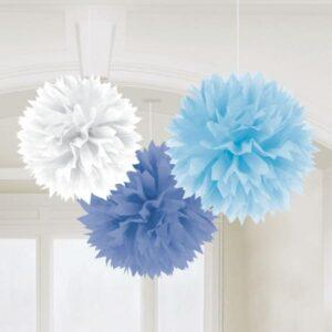 Fluffy Διακοσμητικό Μπλε-Σιέλ-Λευκό  40.6cm 3τεμ.