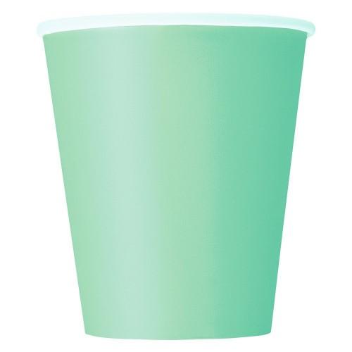 Ποτήρια χάρτινα μέντα 270ml μονόχρωμα 14τεμ.