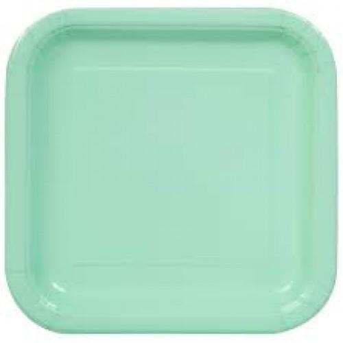 Πιάτα γλυκού τετράγωνα 18εκ. μέντα μονόχρωμα 16τεμ.