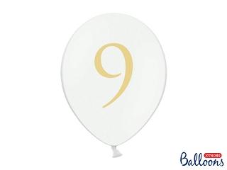 """Μπαλόνι Λευκό Παστέλ """"9"""" Χρυσό 1τεμ. 30εκ."""