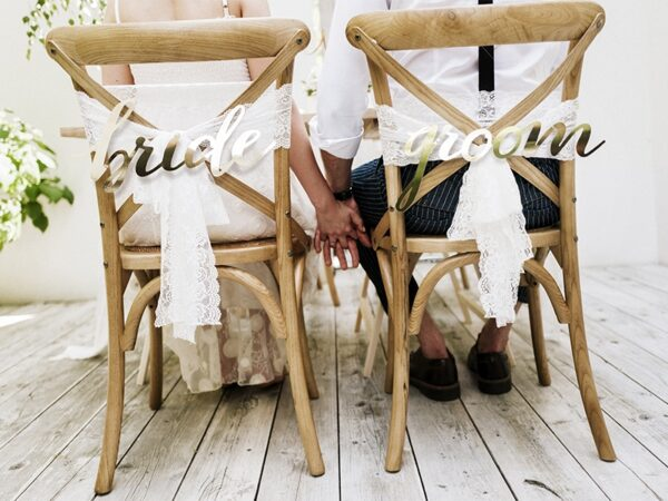 Διακοσμητικά Καρέκλας για Γάμο Bride και Groom 2τεμ.
