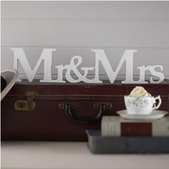 Mr & MRS, Ξύλινο Διασκομητικό (white)