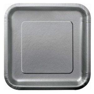 Πιάτα φαγητού τετράγωνα 23εκ. ασημί μονόχρωμα 14τεμ.