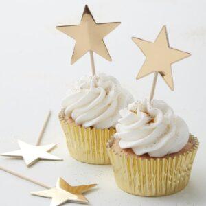Οδοντογλυφίδες αστεράκια Cupcake toppers Metallic Star