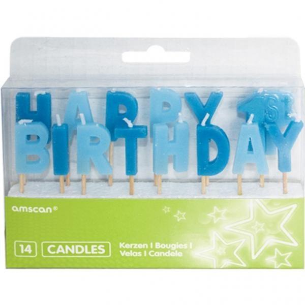 Κεράκι Happy 1st Birthday Σιέλ-Mπλε