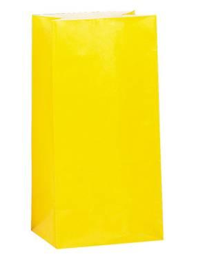 Χάρτινες σακούλες για πάρτυ 12τεμ. κίτρινο