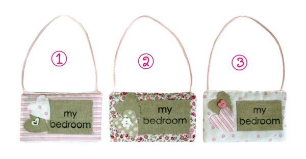 """Ετικέτες """"My Bedroom"""", σε Ροζ - Μπεζ αποχρώσεις, 12εκ Χ 9εκ. (1τεμ.)"""