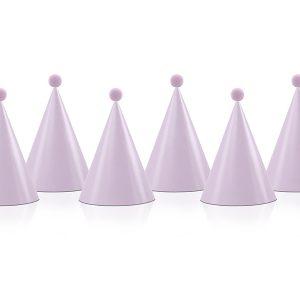 Xάρτινα καπέλα Party ροζ με Pom Pom 6τεμ.