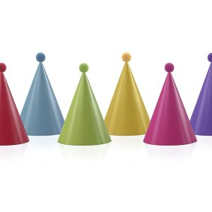 Xάρτινα καπέλα Party πολύχρωμα με Pom Pom 6τεμ.