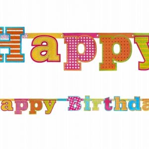 Xάρτινη γιρλάντα με κοπτικό Happy Birthday 166εκ. 1τεμ.