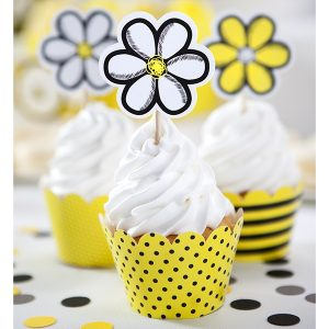 Cupcake toppers Flowers 6τεμ.
