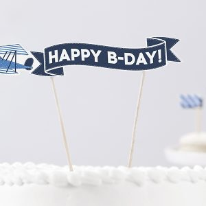 Banner Happy Birthday για τούρτα Little Plane 1τεμ.